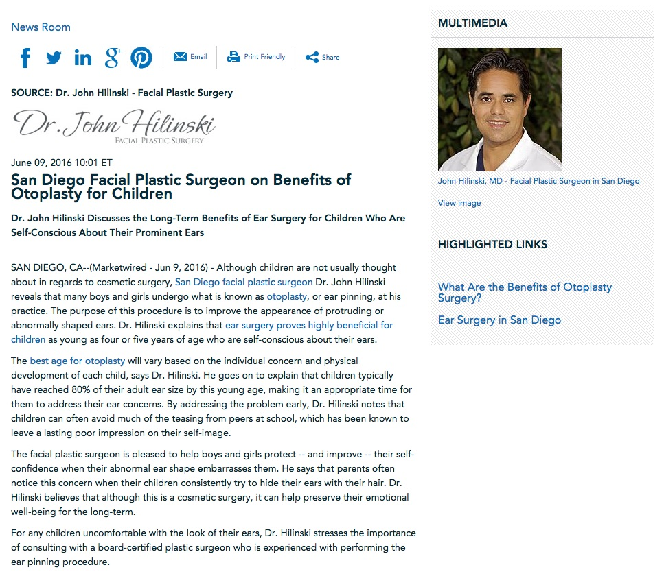 Dr. Hilinski Discusses Ear Surgery for Children